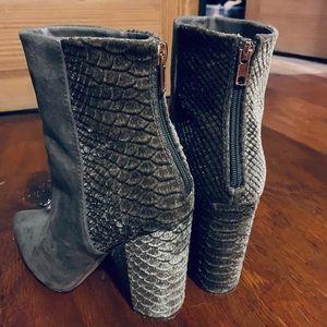 Grey high heel booties